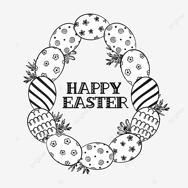 lineart easter floral egg shaped stitching border