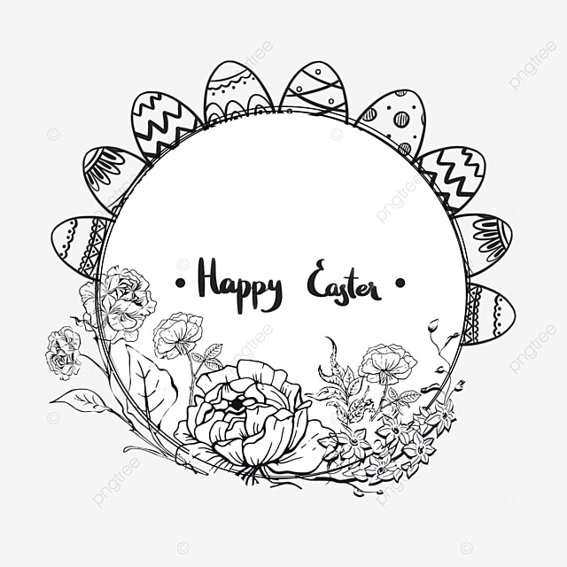 lineart easter floral round border