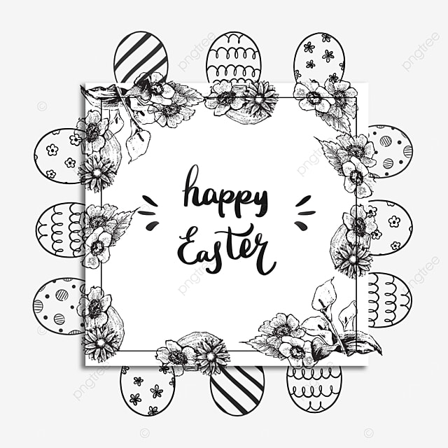 lineart easter floral square border