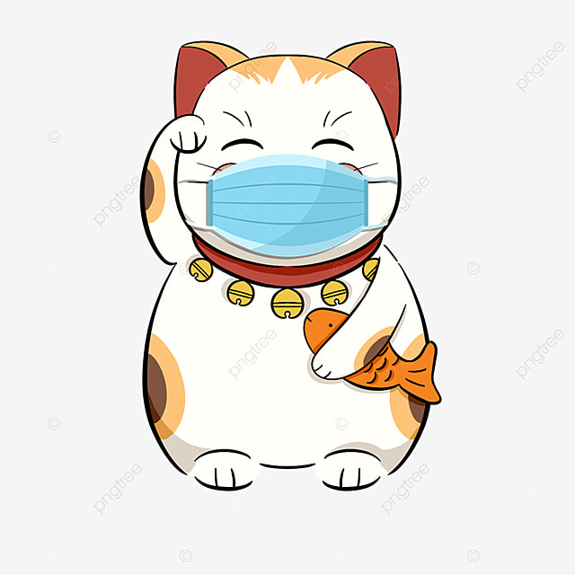 lucky cat wearing a mask for virus protection