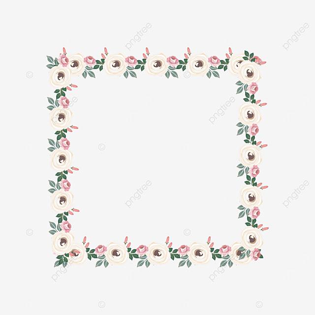 milky white square floral border