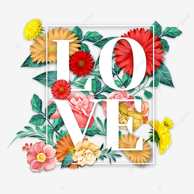 multicolored floral love font