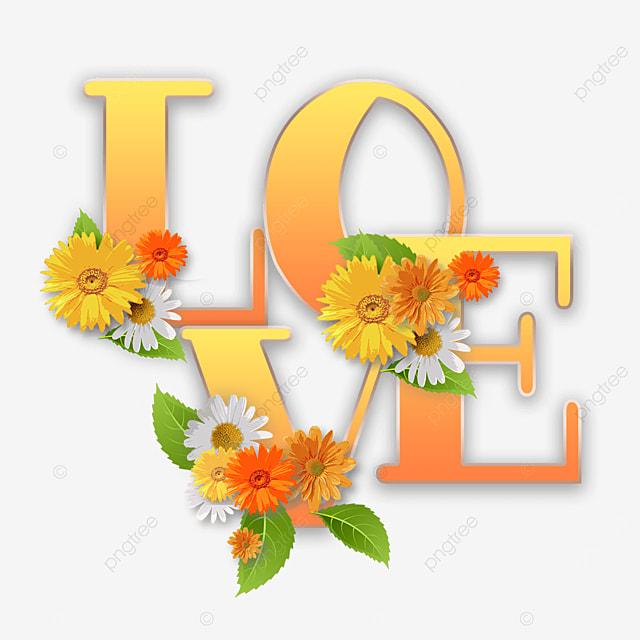 orange gradient love flower font