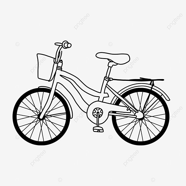 physical activity vehicle bicycle clipart black and white