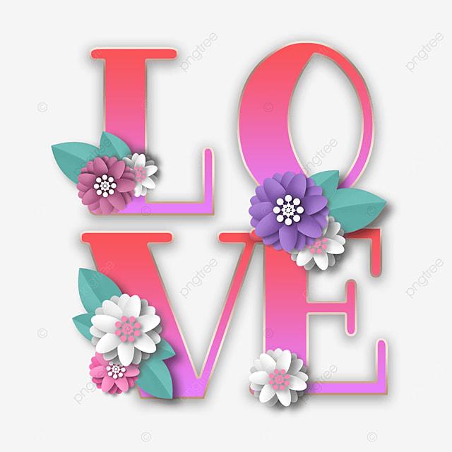 pink gradient love flower font
