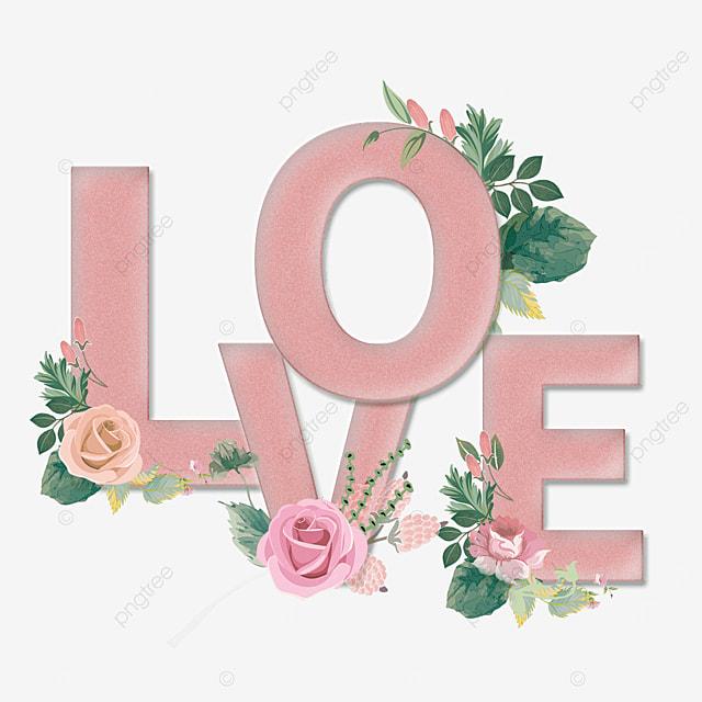 pink love flower crystal font