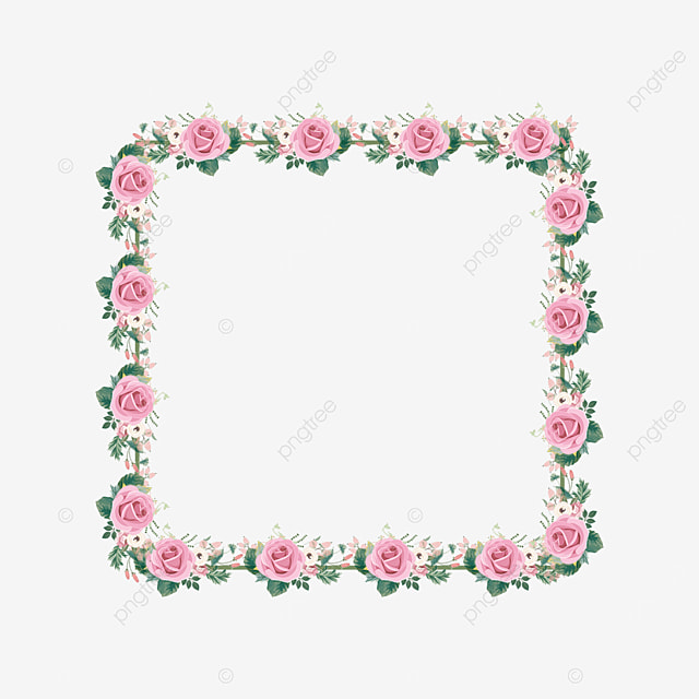 pink rose square floral border