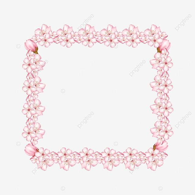 pink square floral border