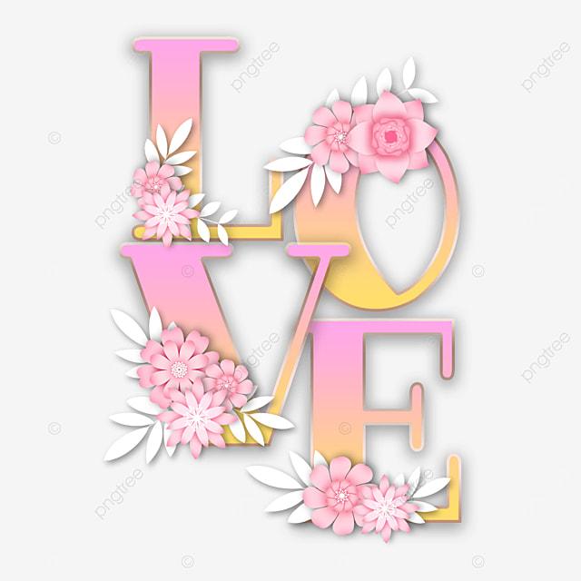 pink three dimensional flower love font