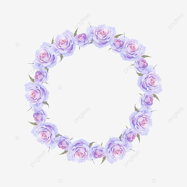 purple floral round border