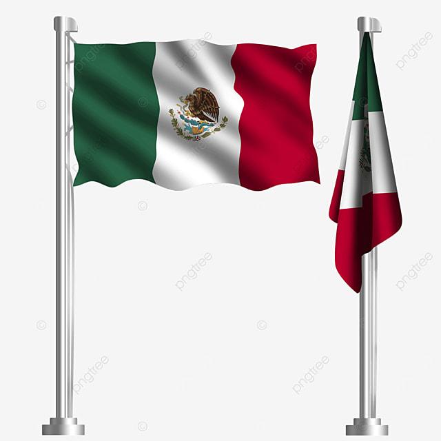 rectangular national emblem eagle waving mexican flag