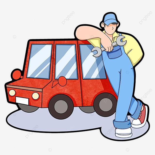 red car repair clipart
