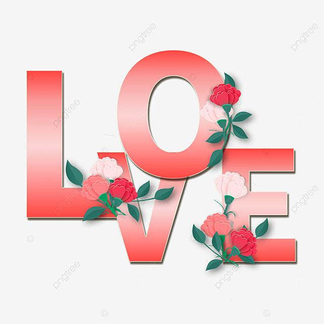 red gradient love flower font