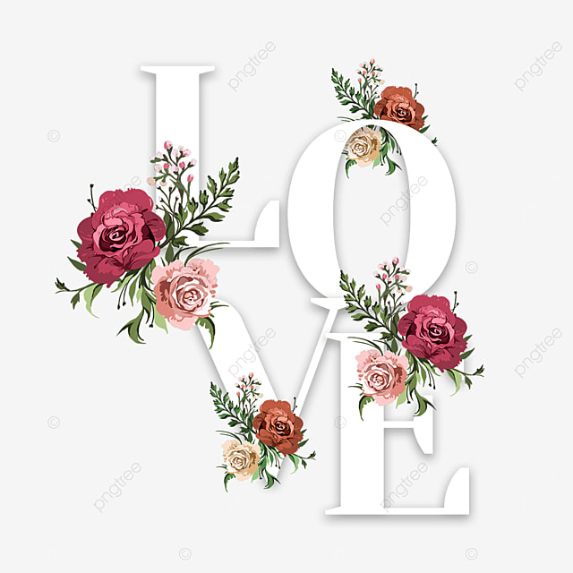 romantic love floral font