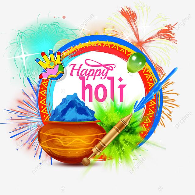 round bright happy holi border