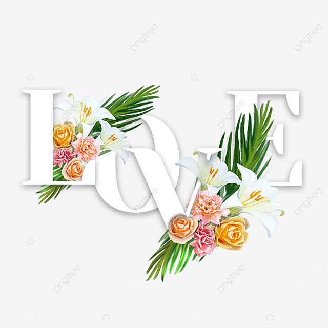 simple love flower font