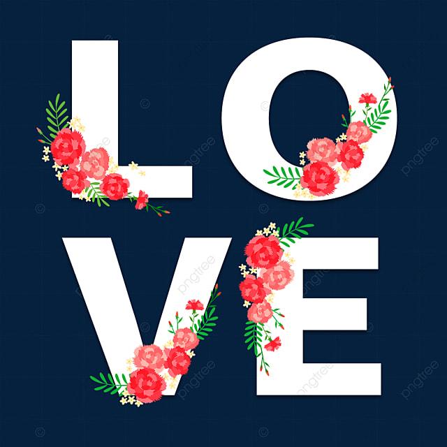 simple white romantic love flower font