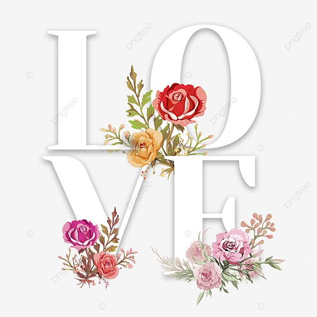 spring festival flower love font