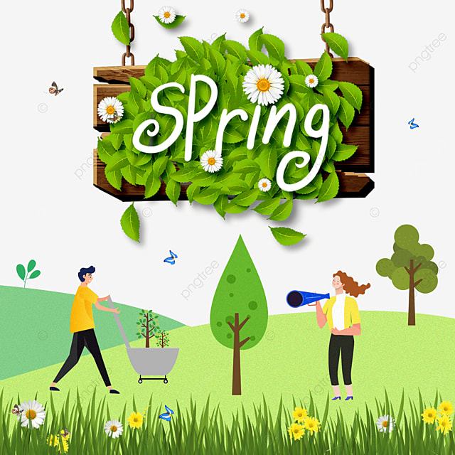 spring flowers and wood board border background