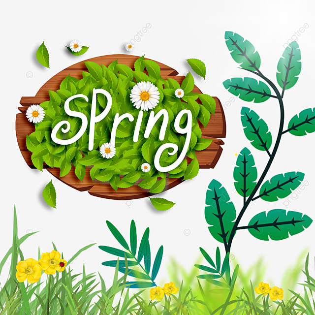 spring flowers and wood board border green