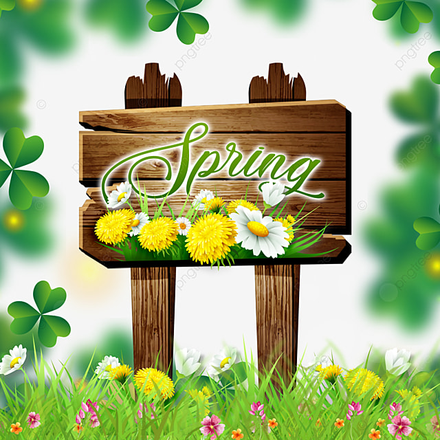 spring flowers and wood board green flowers border