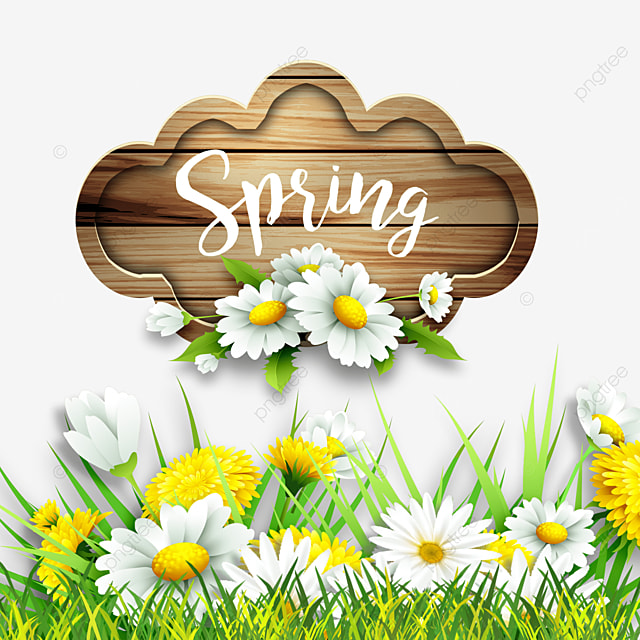 spring flowers flowers wood plank grass border
