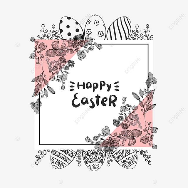 square lineart easter floral border