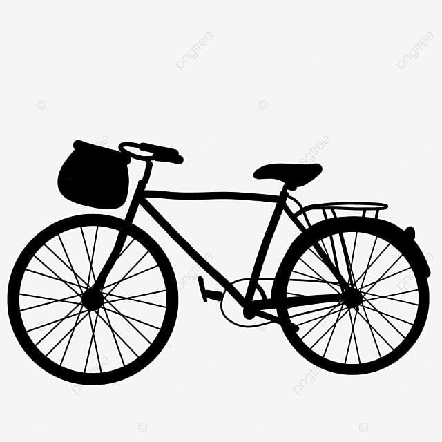 two wheeled pedal daily transportation bicycle clipart black and white