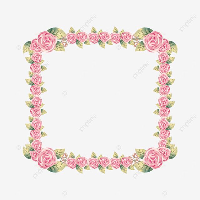 watercolor pink floral plant border
