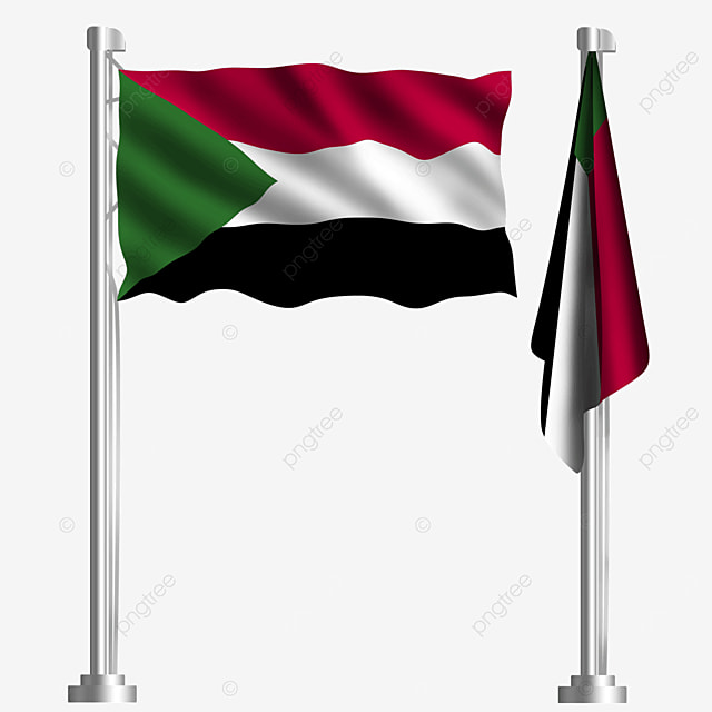 waving flag of the republic of sudan with green triangle tricolor stripes