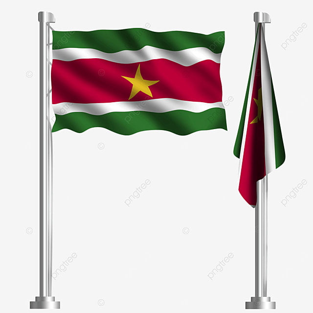 waving flag of the republic of suriname with yellow five pointed star stripes