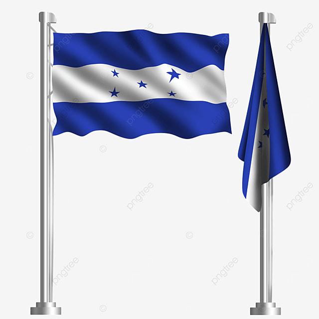 waving honduras flag with blue five pointed star
