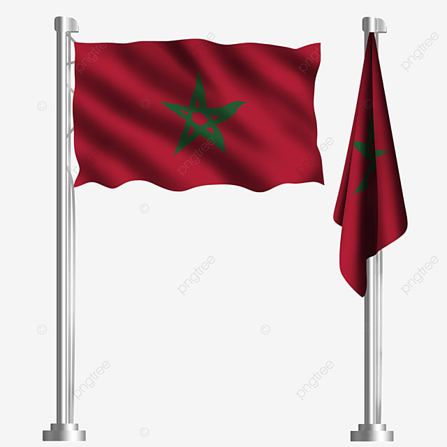 waving moroccan flag with red green stars