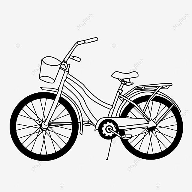 wheel tire basket bike clipart black and white