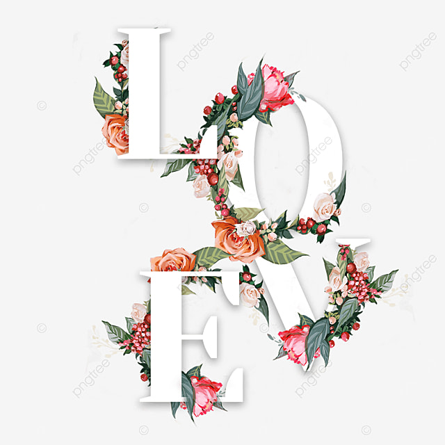 white elegant love flower font