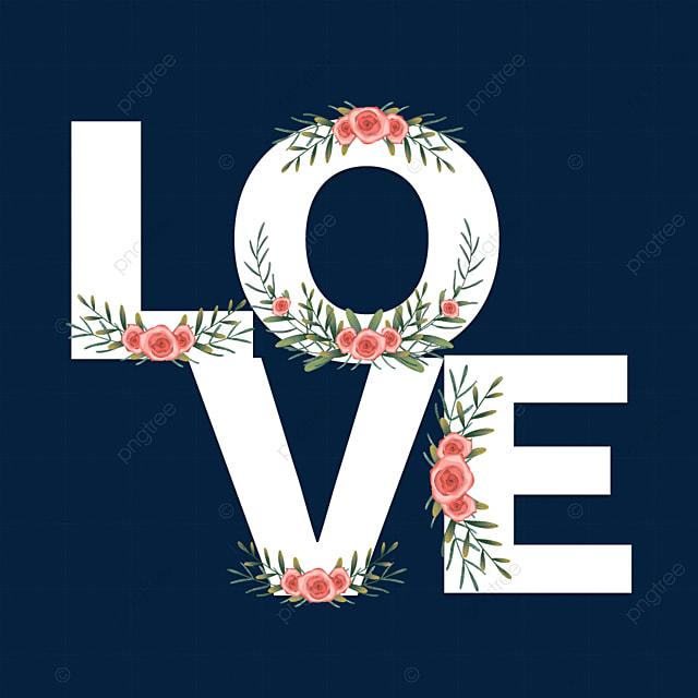 white floral border love font