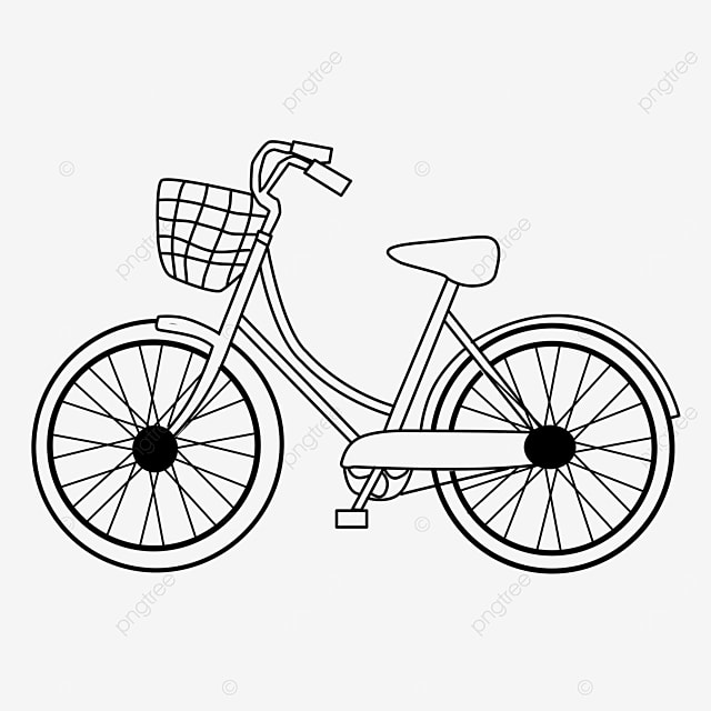 wire basket vehicle bicycle clipart black and white