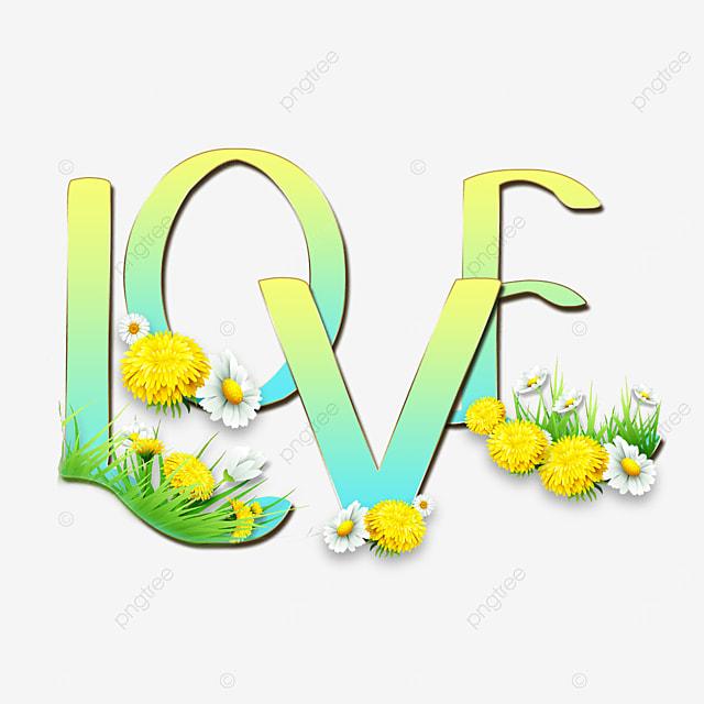 yellow blue gradient love flower font