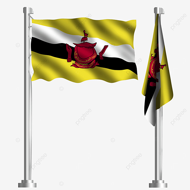 yellow waving brunei flag with palm trees diagonal
