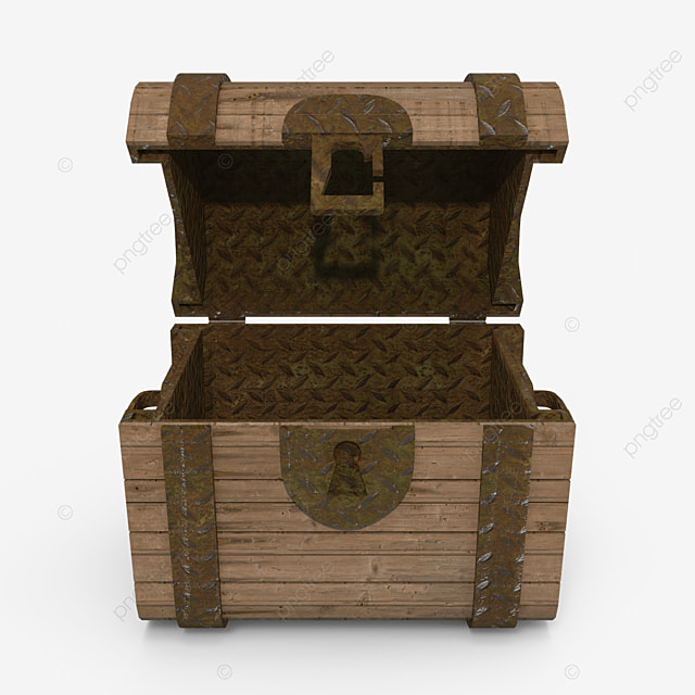 empty old wooden treasure chest
