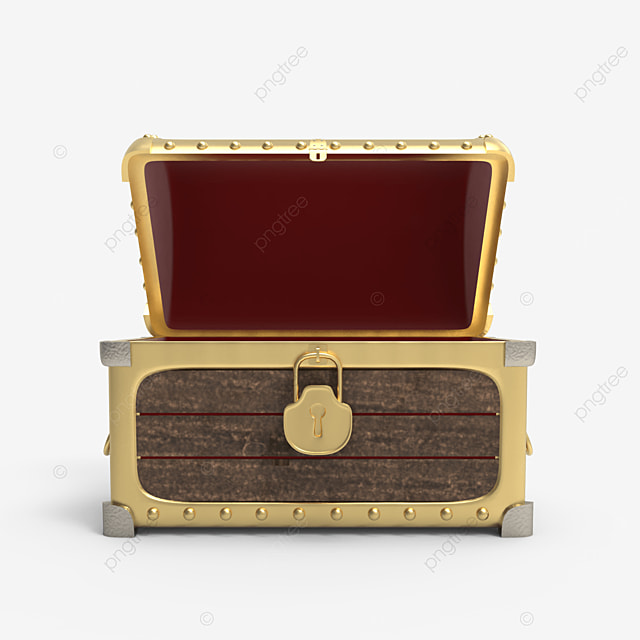 empty wooden treasure chest with golden plate