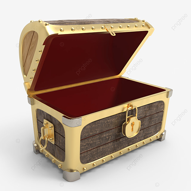 empty wooden treasure chest with golden plate side view