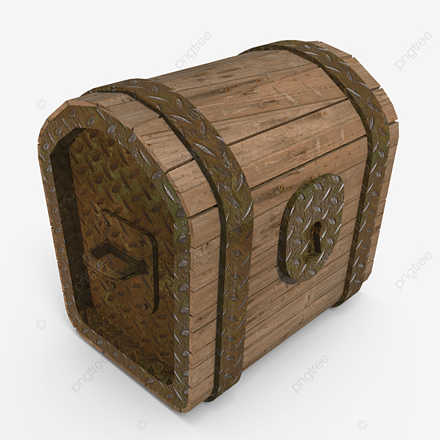 old wooden treasure chest side view