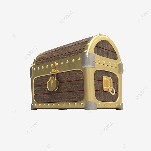 side view of wooden treasure chest with golden plate