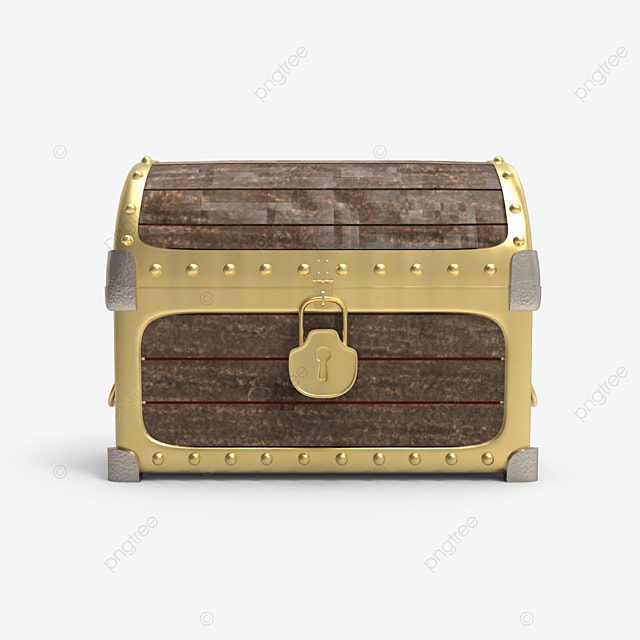 wooden treasure chest with golden plate