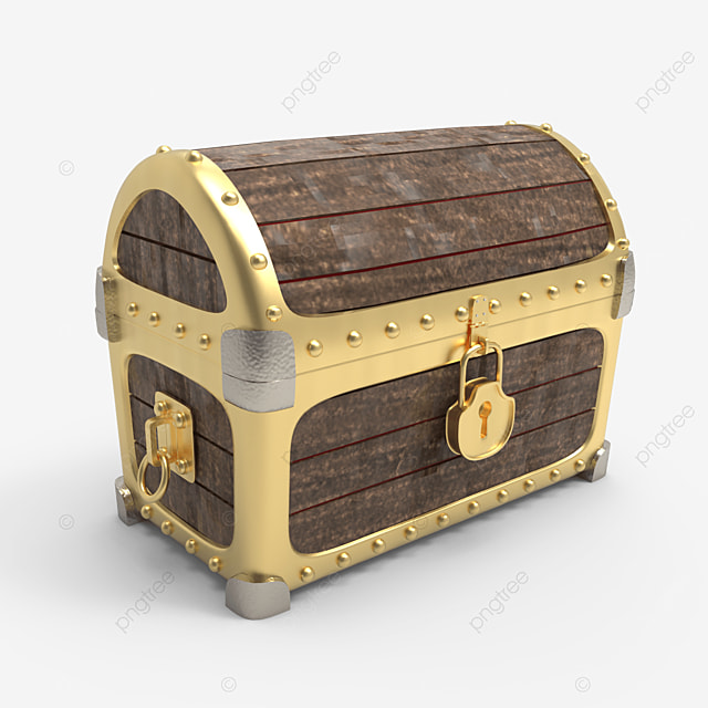 wooden treasure chest with golden plate side view