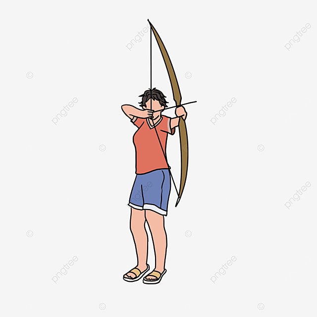archery female red character clipart
