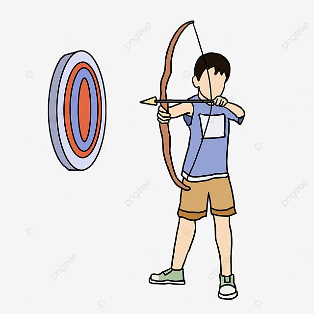archery kid blue target clipart