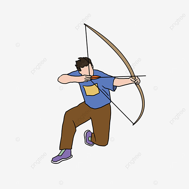 archery male blue character kneeling and shooting clipart