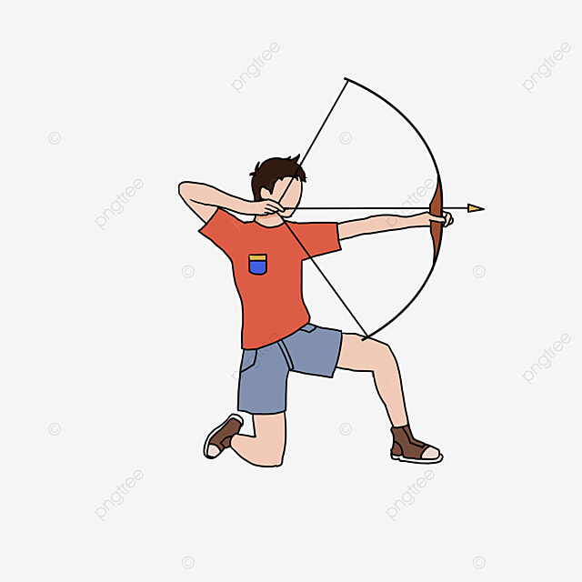 archery male red character clipart
